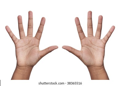 young dark skinned mixed race girls hands in the air in surrender gesture or depicting number 10, isolated against white background including clipping path.