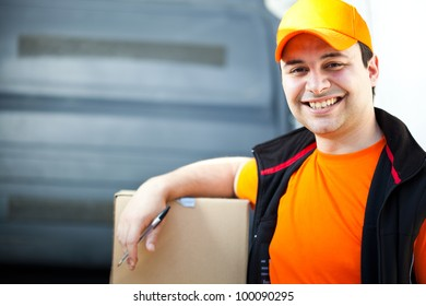 Young delivery boy portrait