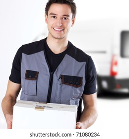 young delivery man with box