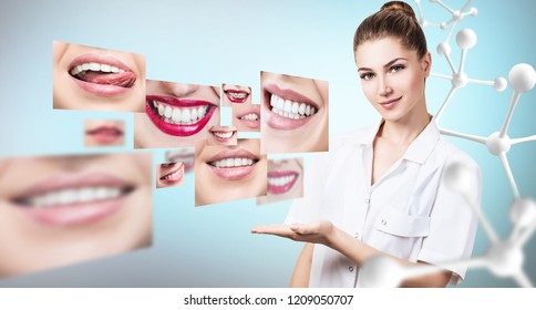 Young dentist doctor presents collage of healthy beautiful smiles. Over blue background.