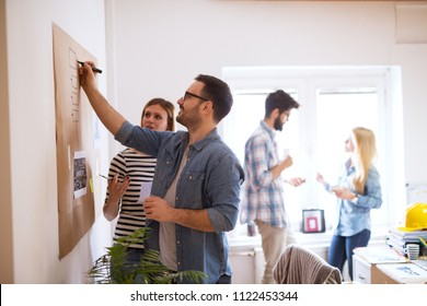 Young developers are brainstorming new algorithms how to make their software better optimized for users , while writing them down on a brownboard.