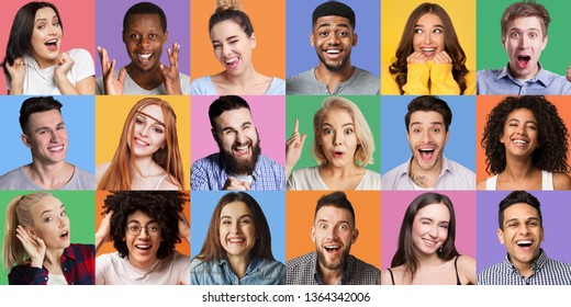 Young diverse people grimacing and gesturing at colorful backgrounds. People's emotionc and gestures concept