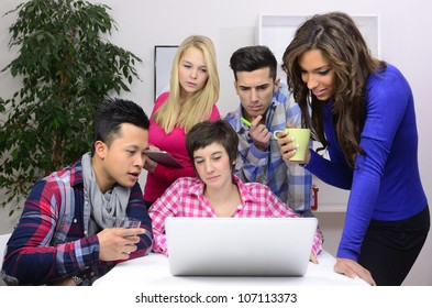 young diverse team of students or employees working