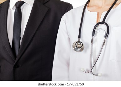 Young doctor and businessman have a meeting