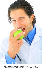 young doctor eat green apple. concept for healthy eating