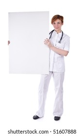 Young doctor hold whiteboard