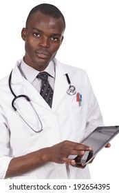 young doctor holding a computer