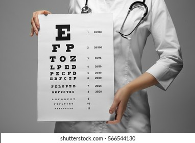 Young doctor holding eyesight test chart, closeup