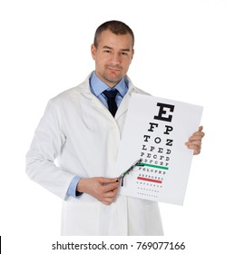 Young doctor holding glasses and eye chart. Isolated on white background.
