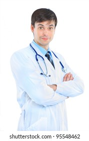 The young doctor. Isolated on a white background.
