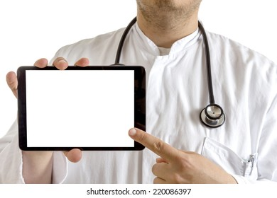 Young Doctor with laboratory coat and stethoscope presenting a tablet computer with isolated screen isolated on white background