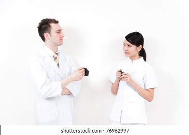 young doctor and nurse relaxing
