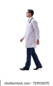 Young doctor physician standing walking isolated on white backgr