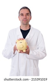 young doctor with piggy bank