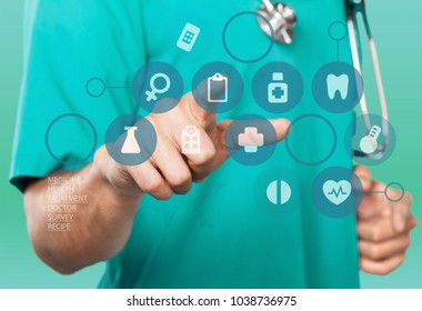 Young doctor pointing in medical infographic