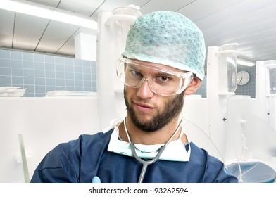 Young doctor portrait in uniform