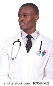 young doctor standing and looking serious