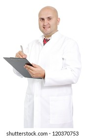 the young doctor in a white dressing gown and good mood with a notebook on a white background