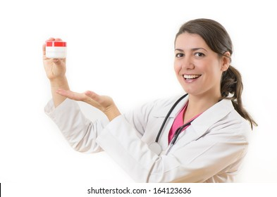 Young doctor woman holding a cream box