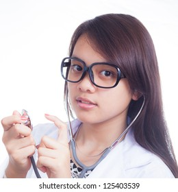 Young doctor woman smile face with stethoscope with isolated white background, model is a asian female