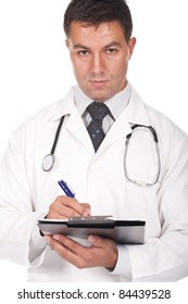 young  doctor writing notes and prescriptions