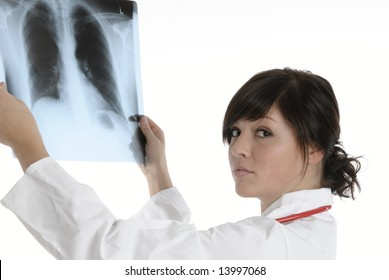 a young doctor with a x-ray image get a diagnosis