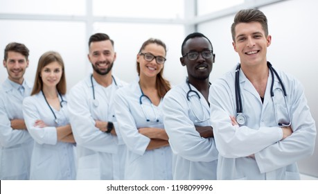 Young doctors looking at camera