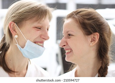 Young doctors profile laughing