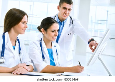 Young doctors work together at a meeting