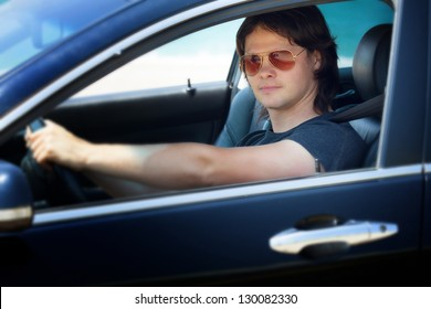 Young driver in the car