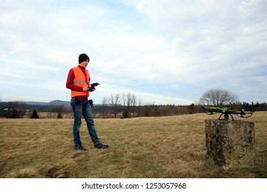 A young drone operator is testing new equipment.
