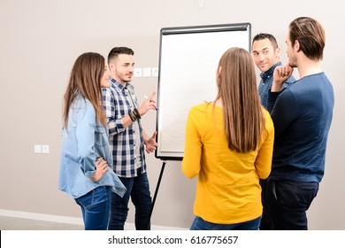young dynamic business team man and woman discussing around a flip chart white board in meeting room