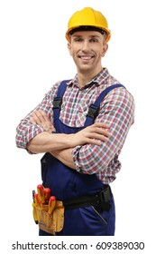 Young electrician with tools on white background