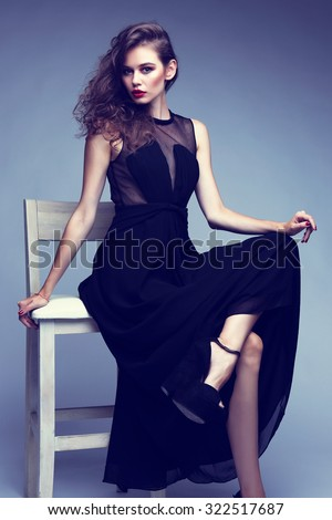 Young Elegant Woman Black Long Dress Stock Photo Edit Now
