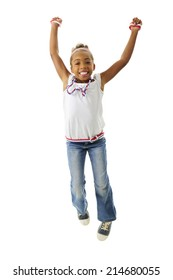 A young elementary girl happily jumping in her red, white and blue outfit.  On a white background.