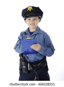 """A young elementary """"policeman"""" happily writing a ticket.  On a white background."""