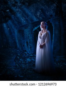 Young elf girl in night forest version