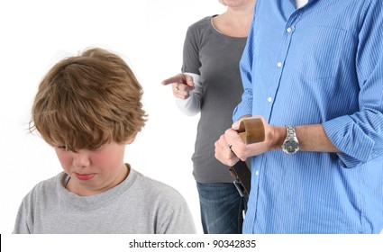 Young Emotional Boy Being Punished by Parents
