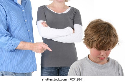 Young Emotional Boy Being Scolded by Parents