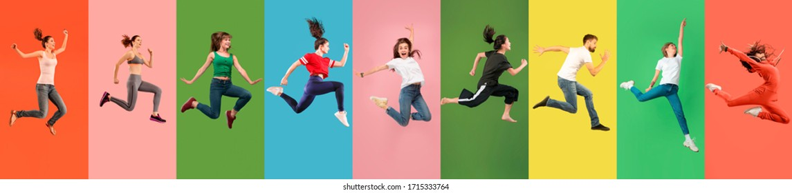 Young emotional people jumping high, look happy, cheerful on multicolored background. Celebrating, winning men and women. Emotions, facial expression concept. Trendy colors. Collage made of 7 models.