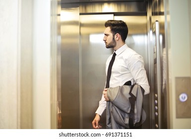 Young employee going to work
