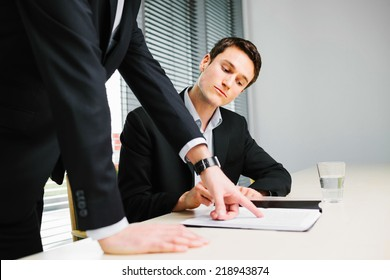 Young employee listen to his manager advice