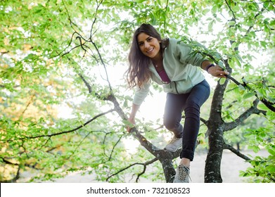 Young energetic woman climbing a tree in the forest, looking happy, enjoying spending time in nature.