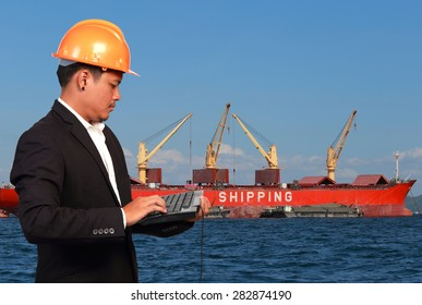 Young engineer and boat shipping