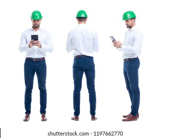 Young engineer checking processes on tablet, isolated on white