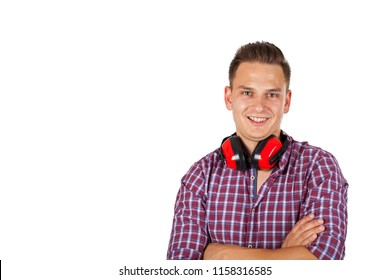 Young engineer on isolated background wearing noise cancelling headset
