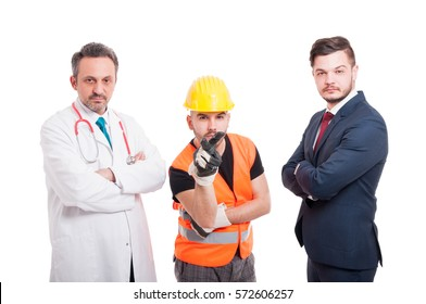 Young engineer is spying you with doctor and lawyer near him isolated on white