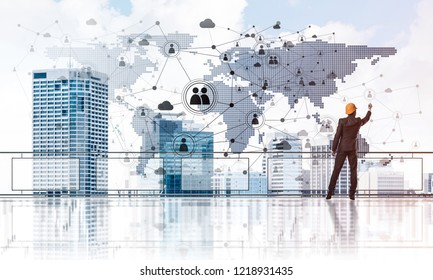 Young engineer in suit at balcony against morning cityscape background. 3d rendering