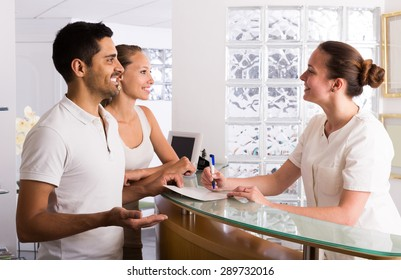 Young european couple patients visiting clinic family planning