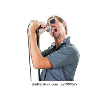 Young european rock singer on the white background